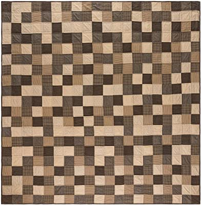 VHC Brands Kettle Grove Luxury King Quilt 120Wx105L Primitive Country Patchwork Design, Country Black and Creme