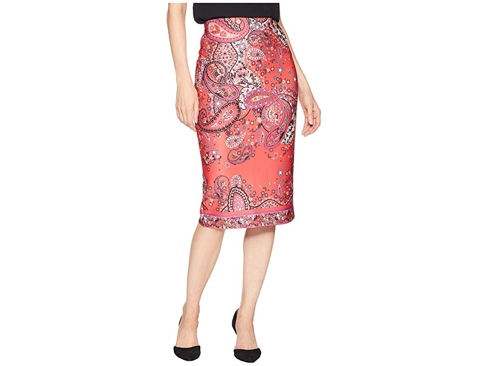 eci Printed Scuba Skirt (Red/Black) Women