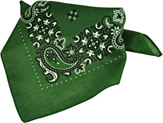 Green, White & Black Paisley Patterned Bandana Neckerchief