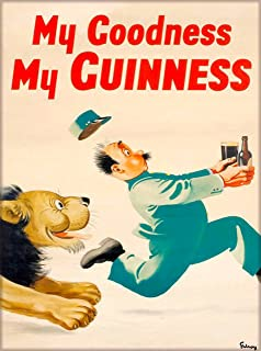 A SLICE IN TIME My Goodness - My Guinness Beer Lion Chasing Man Dublin Ireland Great Britain Vintage Travel Wall Decor Advertisement Art Poster Print. 10 x 13.5 inches.