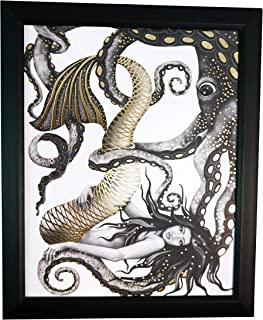 Mermaid and Octopus Swimming - Gold Foil Wall Art Decor Posters Prints - Gifts for Mom Her Women Sister Wife Daughter - Mothers Day Birthday Anniversary Hallmark Keepsake Presents - 8x10 Inches