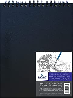 "Canson Comic Manga Sketch Art Book Paper Pad, Top Wire Bound, 65 Pound, 8.5 x 10 Inch, 80 Sheets, 8.5"" x 10"""