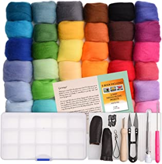 Needle Felting Kit - Wool Roving 36 Colors Set - Starter Tool Kit in a Storage Case and Foam Mat Included - Plus 15 Beginner Projects eBook with Instructions - Gift Idea Crafts Parade