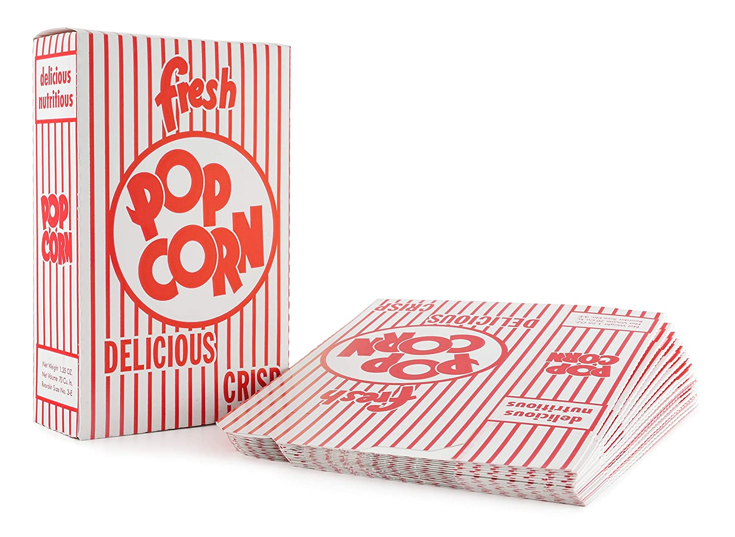 Snappy Popcorn 3-E Red and White 1.25 Boxes Close O Top Max 48% OFF Our shop OFFers the best service