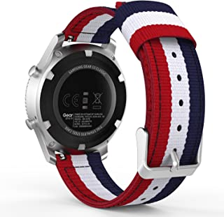 MoKo Gear S3 Watch Band, 22mm Fine Woven Nylon Adjustable Replacement Sport Strap for Samsung Gear S3 Frontier/Classic/Galaxy Watch 46mm/Ticwatch pro/E2/S2/Huawei Watch GT 46mm, Blue&White&Red