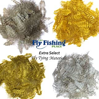 The Fly Fishing Place Fly Tying Materials - Select Grizzly Mini Marabou Chickabou Master Pack - 4 Colors - Yellow Sand Sculpin Olive Natural