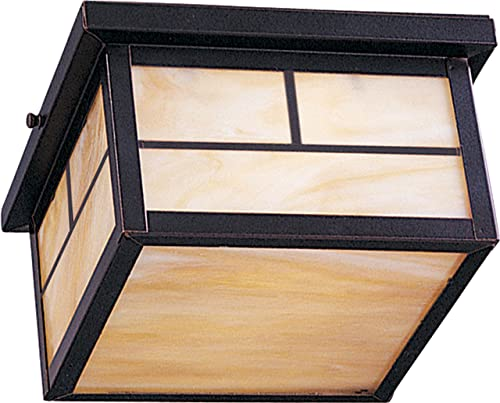 """lowest Maxim 4059HOBU Coldwater Mission Style Outdoor Honey Glass Square Flush outlet online sale Mount, 2-Light 120 Total online Watts, 5""""H x 9""""W, Burnished outlet sale"""