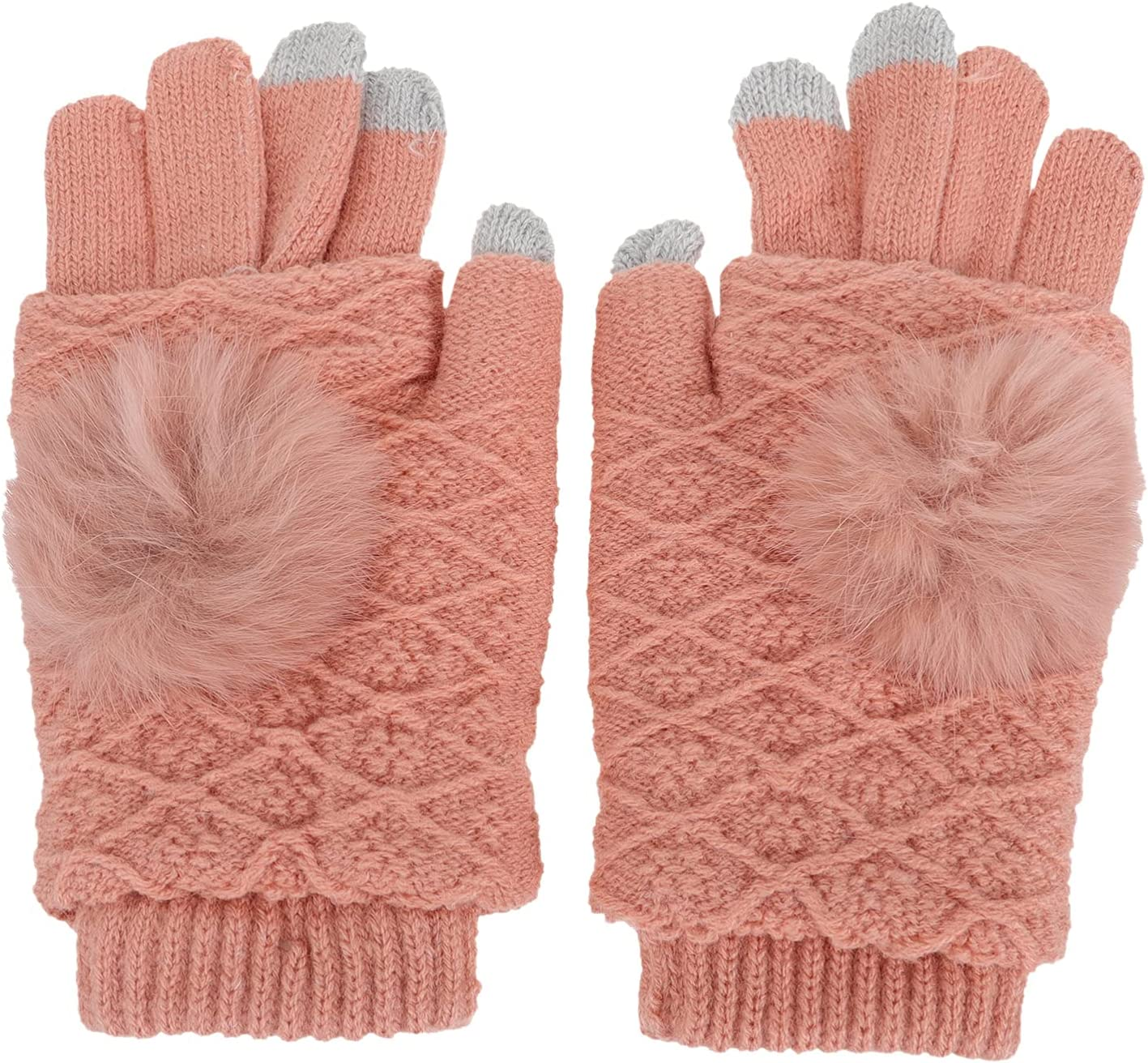 Amosfun 1 Pair Women Knitted Gloves Autumn Winter Warm Thick Gloves Touch Screen Gloves