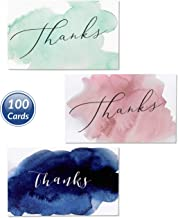 3-in-1 Best Thank You Cards & Envelopes Set, Bulk 100 Count 3.5 x 5 w/Blank Inside Card. Unique Watercolor Design. Personalized Baby Shower, Wedding and Bridal, Birthday, Party, Small Business Notes …