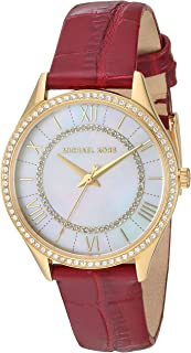Michael Kors MK2756 Reloj para Mujer, Correa Piel Rojo, Caratula Madre Perla, Análogo