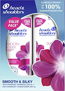 Head Shoulders Smooth Silky Anti-Dandruff Shampoo and Conditioner Bundle Pack, 400ml (Pack of 1)