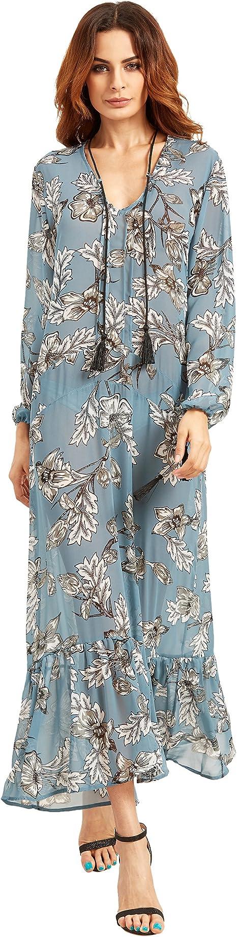 SheIn Damen Tunika Kleid Gr. S, blau  Amazon.de Bekleidung