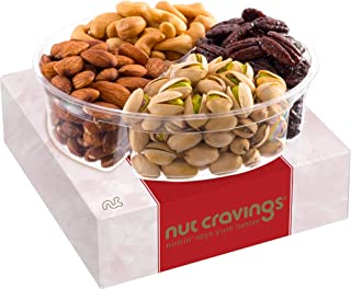 Holiday Nuts Gift Basket, 4-Sectional Elegant Mixed Nuts Assortment, Gourmet Christmas Food Box Prime Gift, Great for Than...
