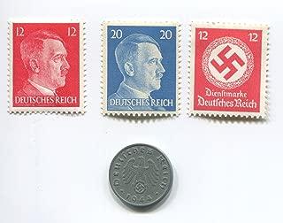 Premium Nazi World War Two WW2 German Third Reich Swastika Coin and Hitler Stamp Set / Collection