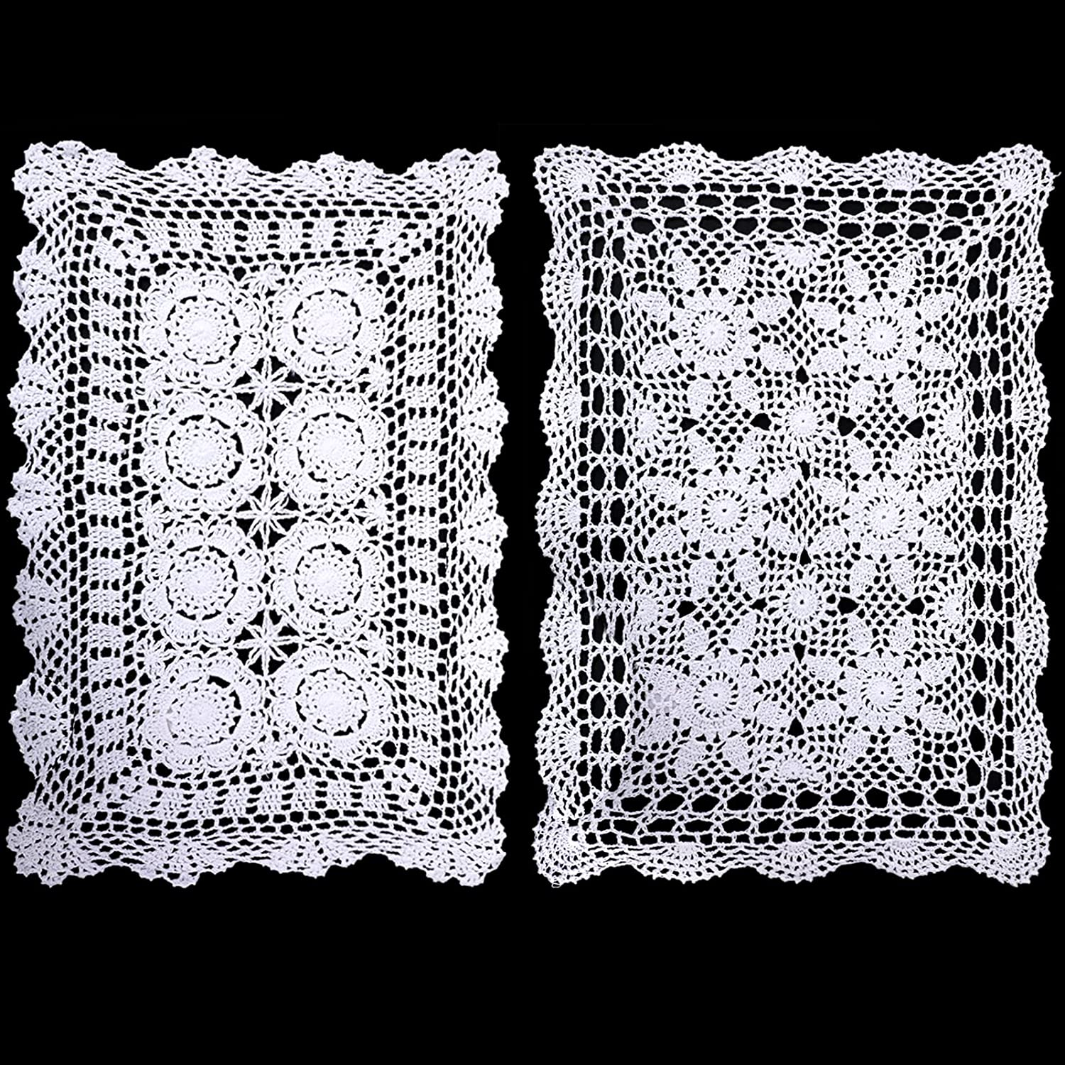 WILLBOND 2 Pieces Handmade Crochet Lace Table Runner Rectangular Lace Doilies Doily Floral Tablecloth Crochet Table Cover Dining Table Placemats Bedside Dresser Table Decor, 15 x 23 Inch, White