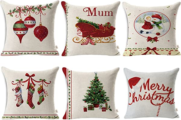 HOSL SD40 Merry Christmas Series Blend Linen Throw Pillow Case Decorative Cushion Cover Pillowcase Square 18 Set Of 6