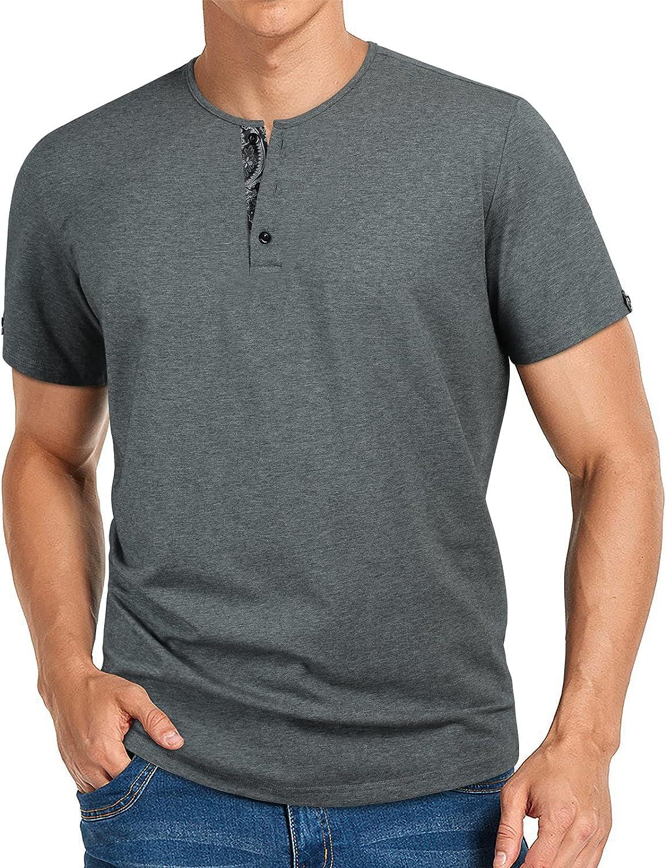 Enlision Men's Casual Henley Shirts Virginia Beach Mall Slim Max 77% OFF Summer Sleeve Short Fit