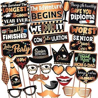 Wobbox Graduation Photo Booth Party Props Copper Golden & Black, Graduation Party Decoration, Graduation Decoration Item