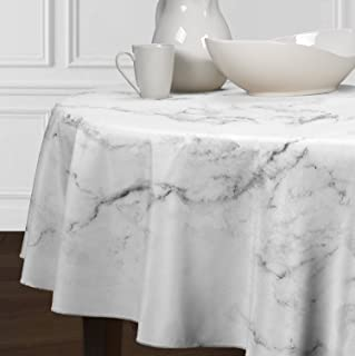 A LuxeHome Black Grey and White Modern Contemporary Marble Tablecloths Dining Room Kitchen Round 72