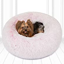 Friends Forever Donut Cat Bed, Faux Fur Dog Beds for Medium Small Dogs - Self Warming Indoor Round Pillow Cuddler Pink & T...