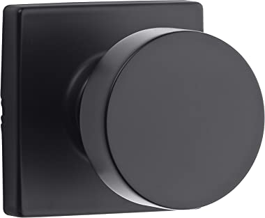 Kwikset 97200-896 Pismo Passage Square Modern Door Knob, Matte Black