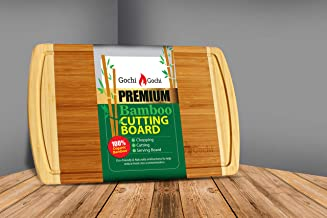 Large Bamboo Kitchen Cutting Board with Deep Juice Groove. Chopping Board for Meats Bread Fruits, Butcher Block, Carving Board