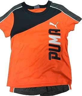 PUMA Boy's Graphic Performance Tee & Shorts Set, Fire Orange, 3T