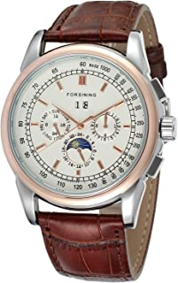 Forsining Men's High Grade Automatic Round Silver Color Dial Men Watch with Brown Genuine Leather Strap FSG319M3T1