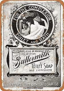 Fersha Metal Sign - Vintage Look 1895 Buttermilk Toilet Soap 8 x 12 Inches Decorative Signs