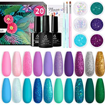 Beetles Gel Nail Polish Kit, Mermaid Mantra 20 Colors Soak Off Gel Polish Starter Kit with 1 Base Coat 1 Glossy & 1 Matte Top Coat 3 Nail Brushes 6 Colors Glitter 1 Mermaid Nail Stickers Christmas Gifts Set