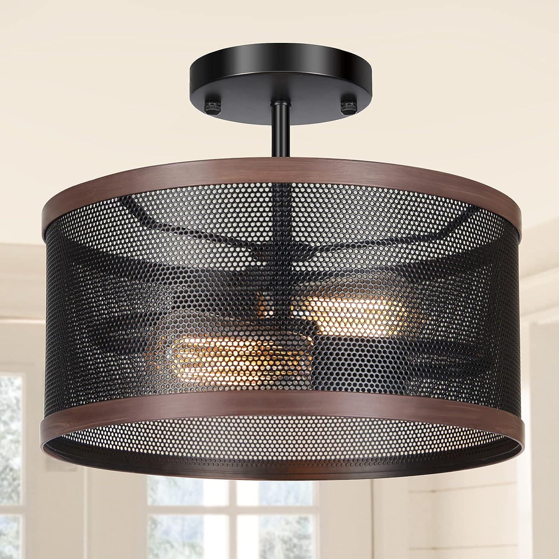 Farmhouse Industrial Ceiling New popularity Light 2-Light Fixture 2021 model Rustic Semi