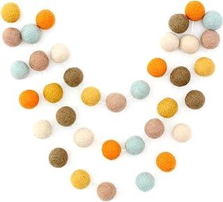 """Pumpkin Latte"" Handmade 7 foot Adjustable Fall Felt Ball Garland by Sheep Farm Felt- Fall Pom Pom Garland. 1 inch felt balls"