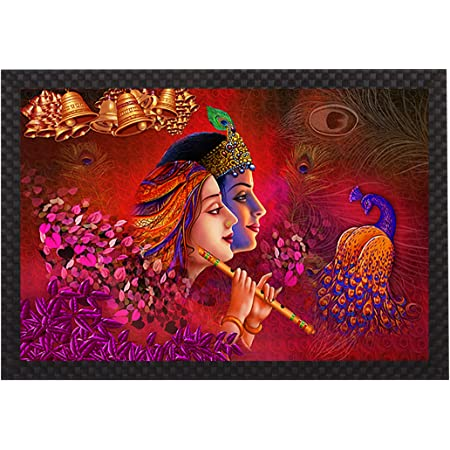 Saumic Craft Radha Krisna Playing Flute with Dancing Peacock UV Coated Framed Painting for Home Decoration and Gifting with A Free Special Present Inside (14 inch X 20 inch)