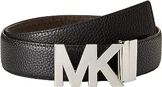 Michael Kors Womens Designer Logo Belt Reversible (Medium, Black)