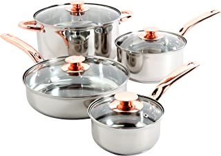 Sunbeam 91345.08 Ansonville 8-Piece Cookware Set, Silver/Copper