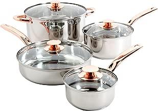 Sunbeam 91345.08 Ansonville 8-Piece Cookware Set, Silver/Copper