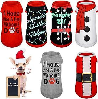 6 Pieces Dog Christmas Clothes Pet Christmas Shirt Printed Santa Snowman Puppy Costume Xmas Cute Dog Clothing Comfy Pet Ap...