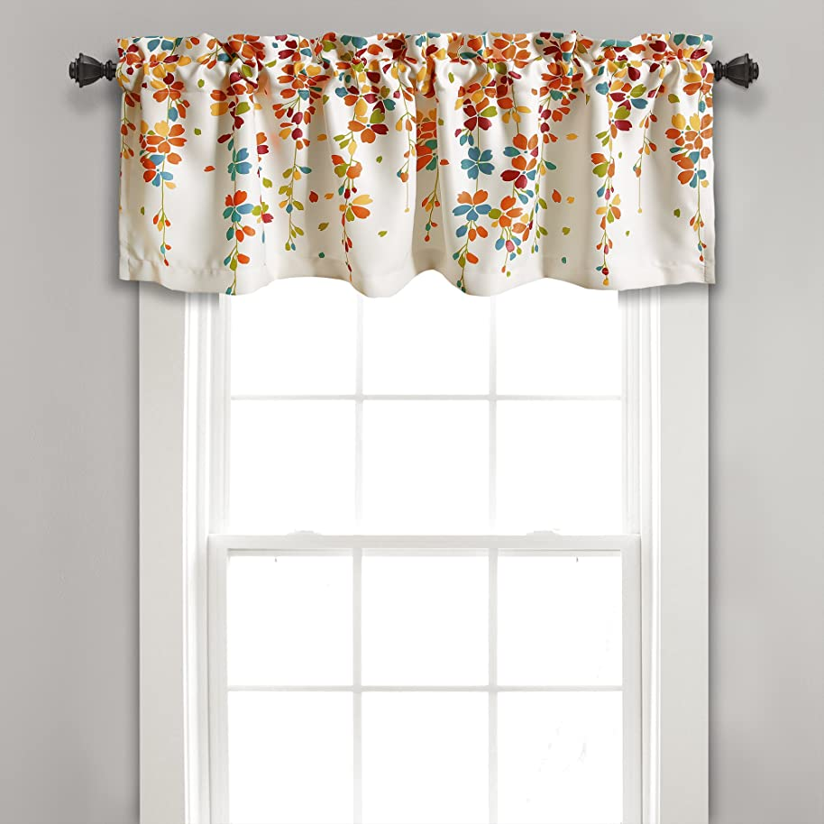 Lush Decor Weeping Flowers Turquoise and Tangerine Valance Curtain for Windows, 18