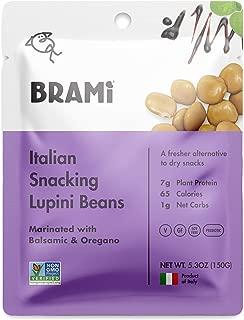 BRAMI Lupini Beans Snack, Balsamic & Oregano | 7g Plant Protein, 1g Net Carbs | Vegan, Vegetarian, Keto, Mediterranean Diet | 5.3 Ounce (4 Count)