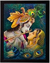 NOBILITY Matte Textured Framed Synthetic Wood Radha Krishna UV Art Painting Statues