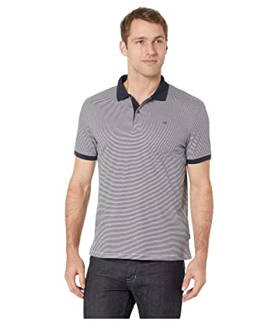 Calvin Klein S/S 2 Button Liquid Cotton Interlock Polo (Dark Navy Combo) Men