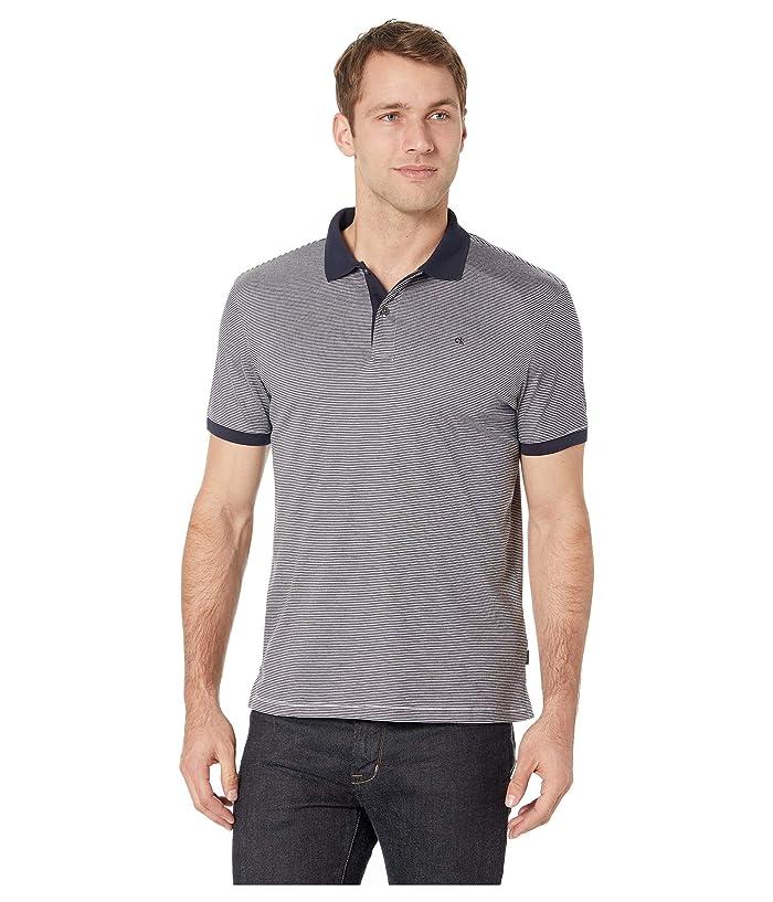 Calvin Klein S/S 2 Button Liquid Cotton Interlock Polo (Dark Navy Combo) Men