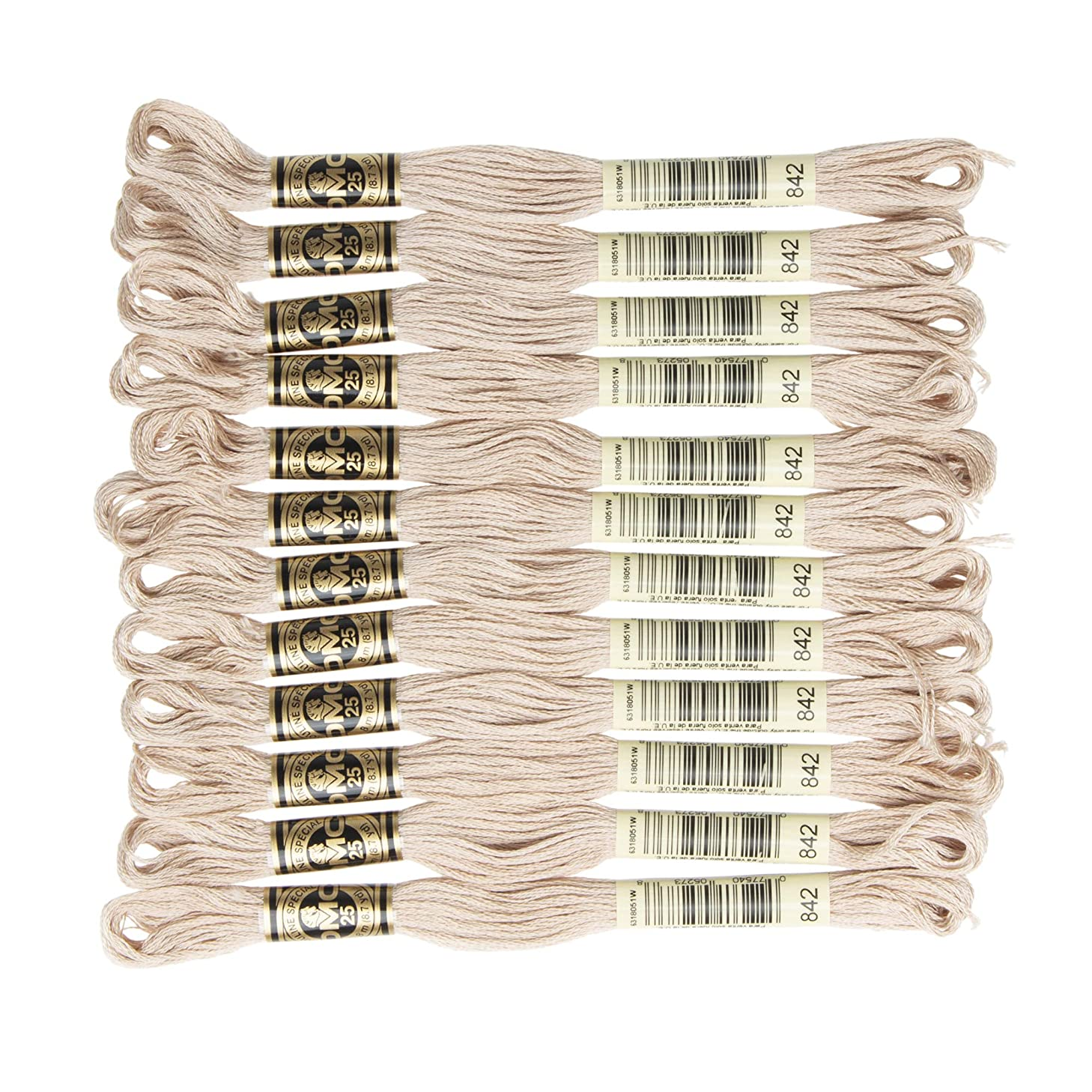 DMC 6-Strand Embroidery Cotton Floss, Very Light Beige Brown , Pack of 12