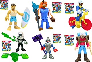 Imaginext Series 12 Blind Bag Complete Set of 6 (Sealed Bags) - Includes Cyclist Bike Racer, Surfer Dude, Empire State Robot, Female Backpacker, Black Clawtron Robot, and Tiger Monkey Boy