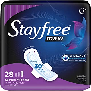 Stayfree Maxi Overnight Pads with Wings For Women, Reliable Protection and Absorbency of Feminine Periods, 28 Count