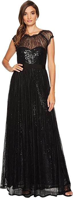 Adrianna Papell - Long Sequin Gown with Chantilly Lace Overlay