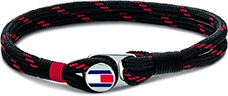 TOMMY HILFIGER MEN'S STAINLESS STEEL & BLACK & RED CORD BRACELETS -2790256