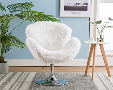 CIMOO White Makeup Vanity Chair, Cute Furry Home Office Chair with Back Arms, Fluffy Swivel Accent Chair for Girls Bedroom Living Room,White Long Fur