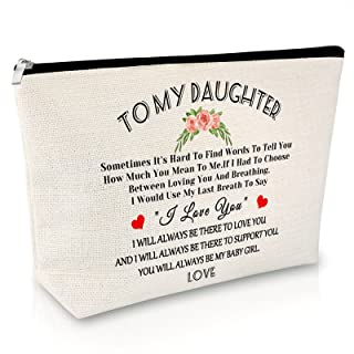 Daughter Gift from Mom Dad Makeup Bag Funny Birthday Gifts for Her Back to School Gift for Girls Cosmetic Bag Graduation C...