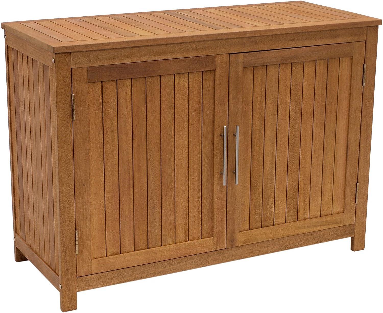 DEGAMO Holz Gartenschrank Cabinet 20x20cm mit Zwei Ebenen, Eukayltpus